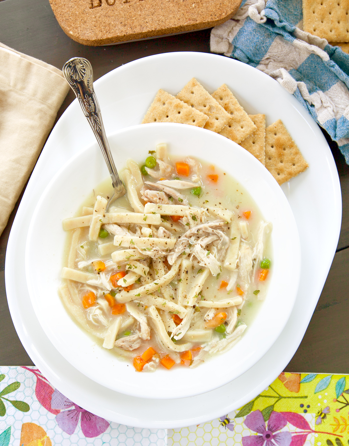 quick and easy chicken noodle soup flatlay