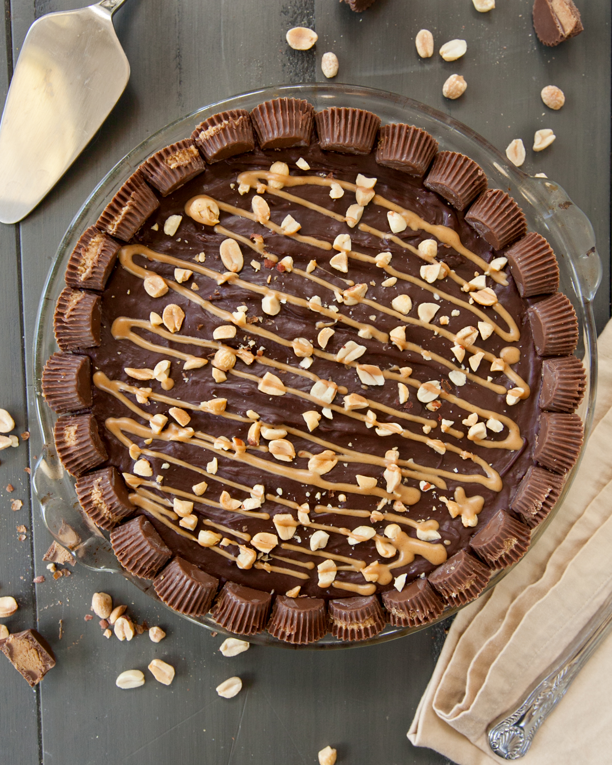overhead chocolate peanut butter pie