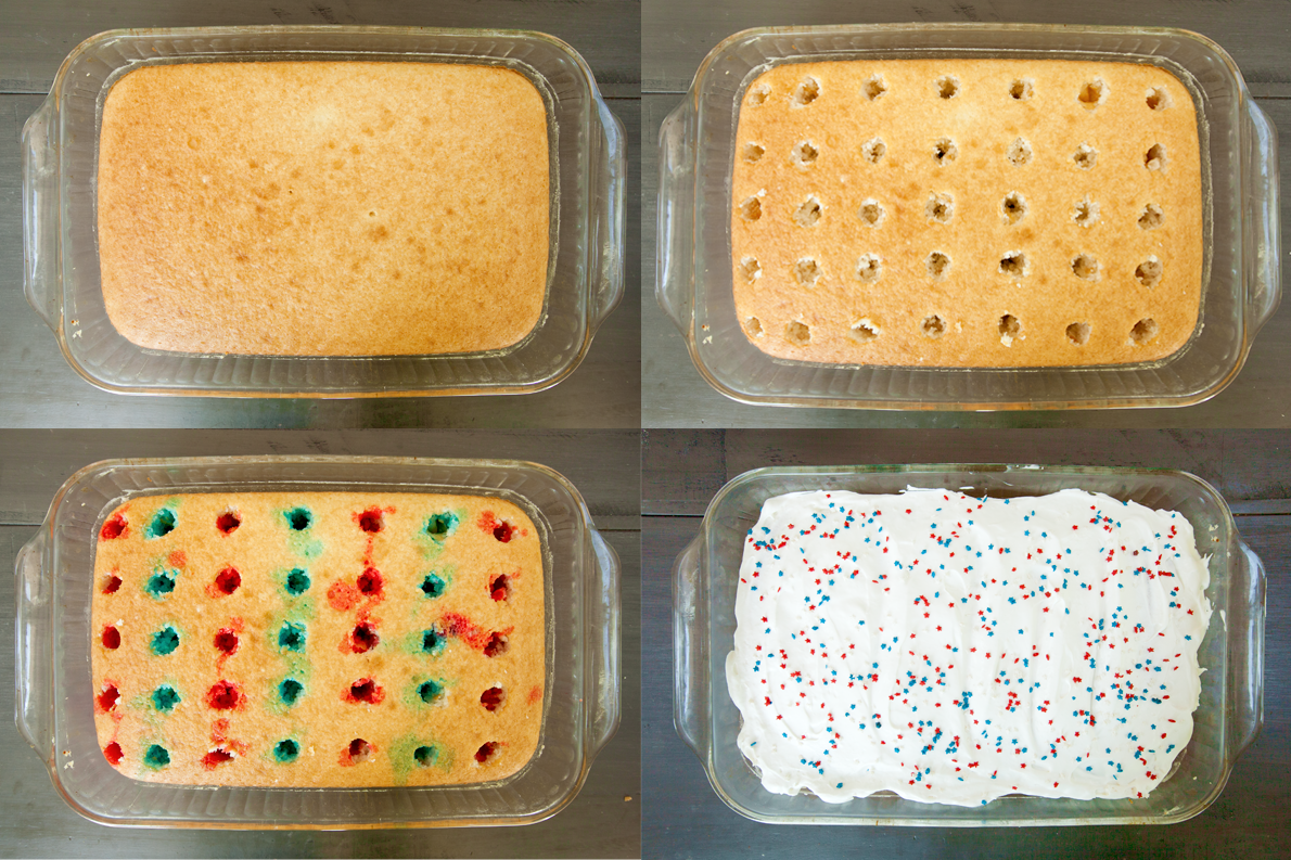 Showing the holes for red white and blue poke cake