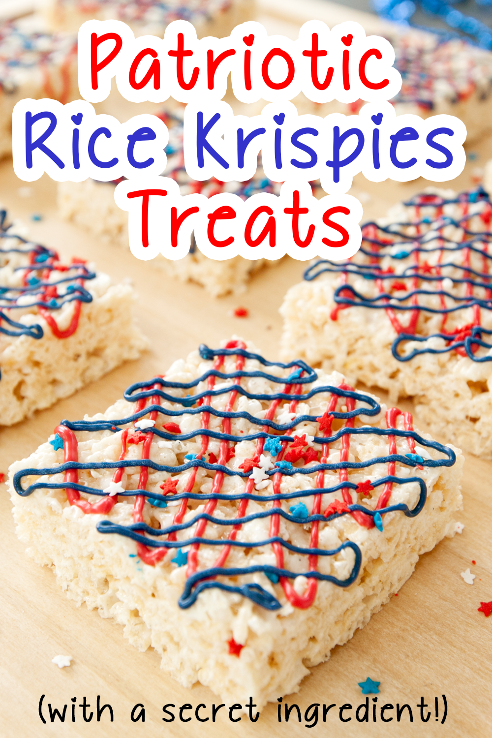 red white and blue rice krispies treats for pinterest
