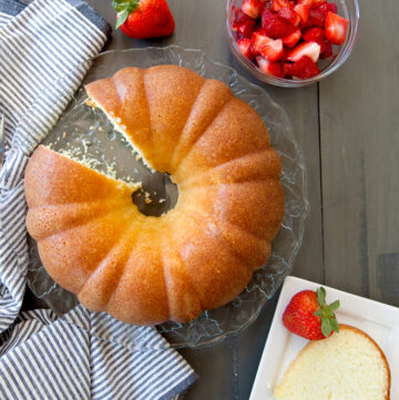 overhead of sour cream pound cake with a slice cut out