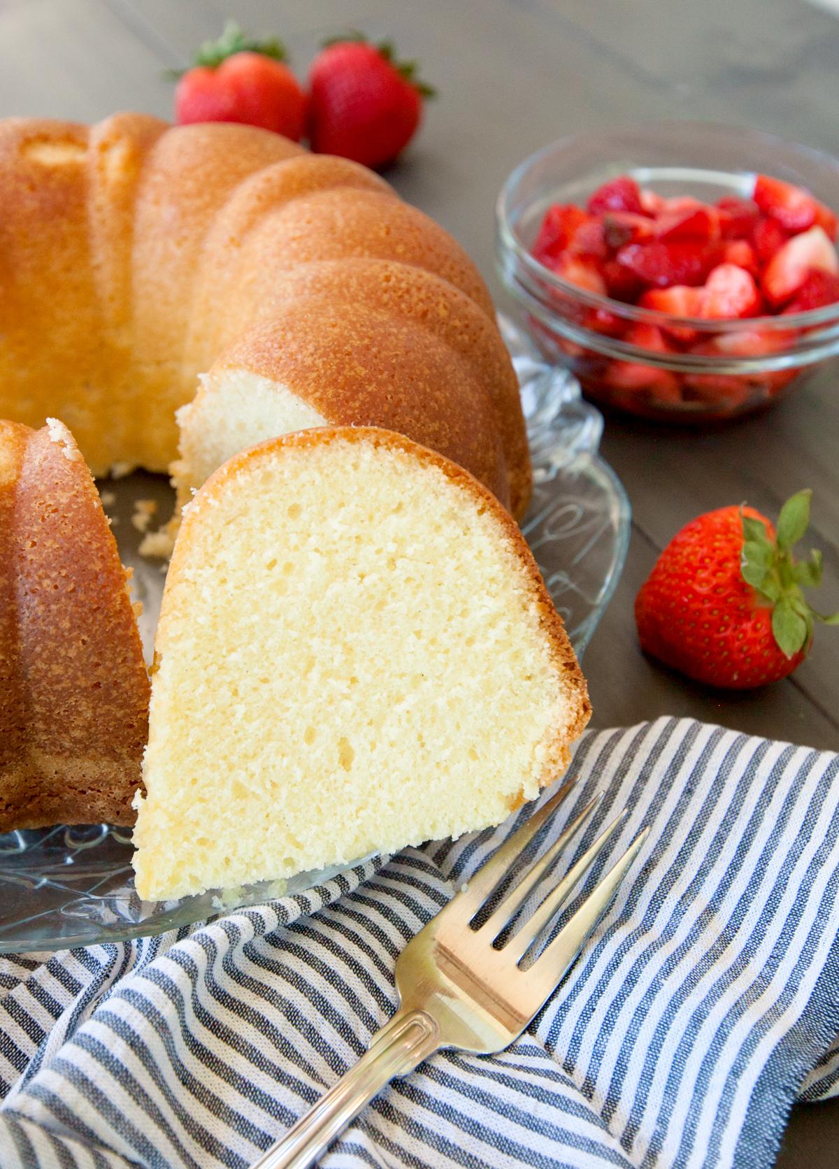 a slice of sour cream pound cake