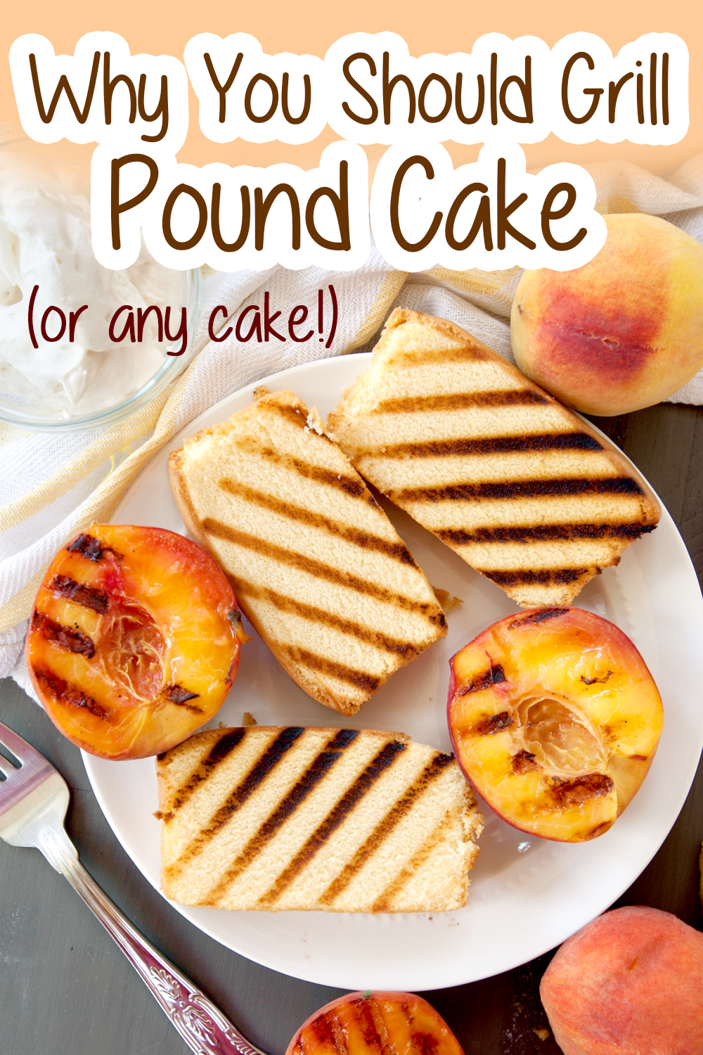 grilled pound cake pinterest image with text
