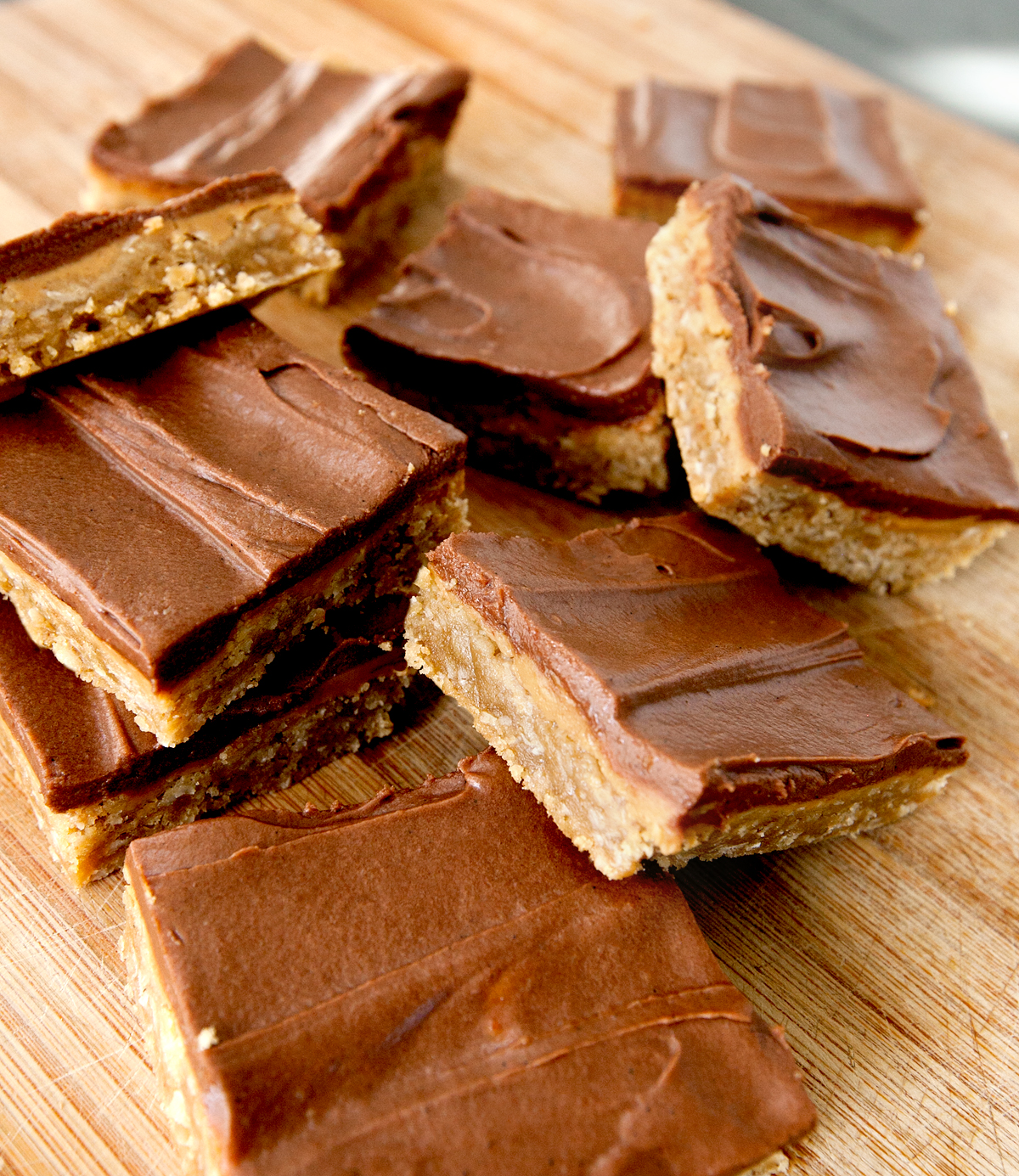 messy pile of lunch lady peanut butter bars