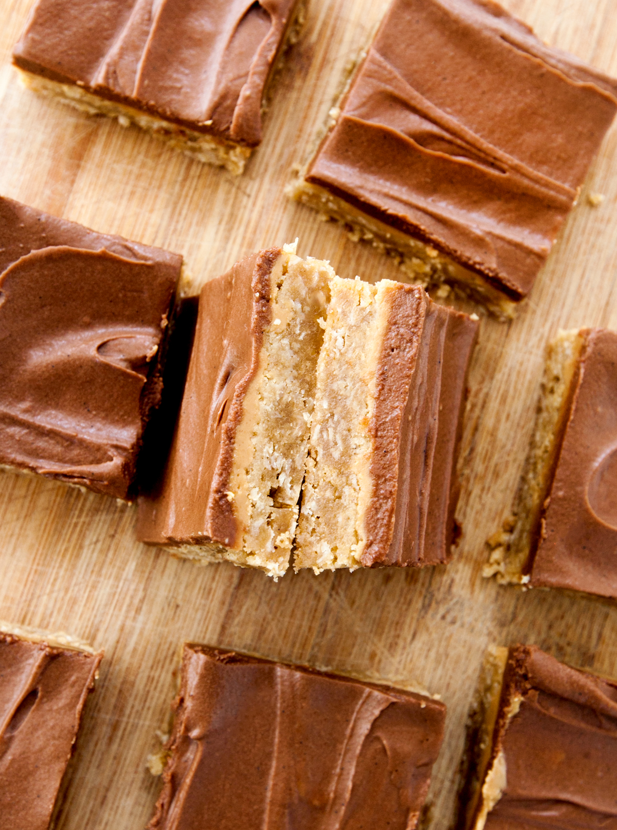 overhead view of lunch lady peanut butter bars