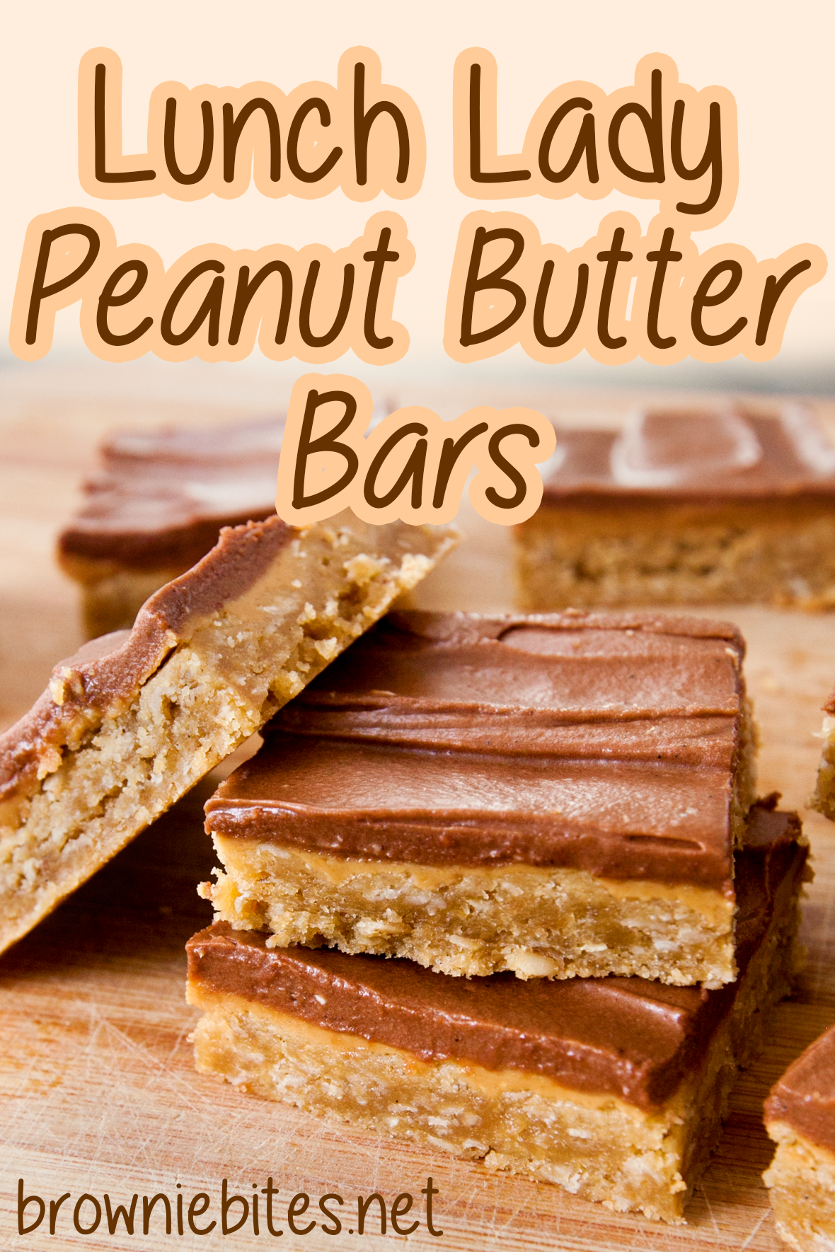 stack of lunch lady peanut butter bars with text for Pinterest