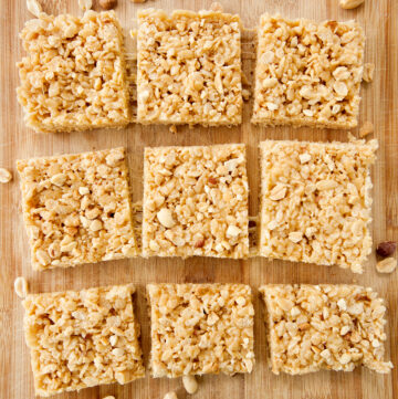 flatlay shot of squares of peanut butter rice krispie bars