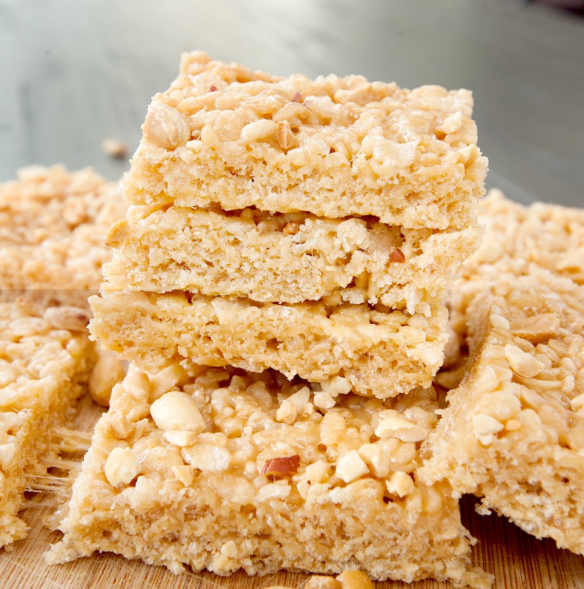 A stack of ooey gooey peanut butter rice krispie bars