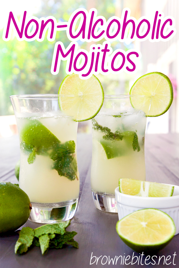 photo of two mojito glasses with lime garnish with text for Pinterest