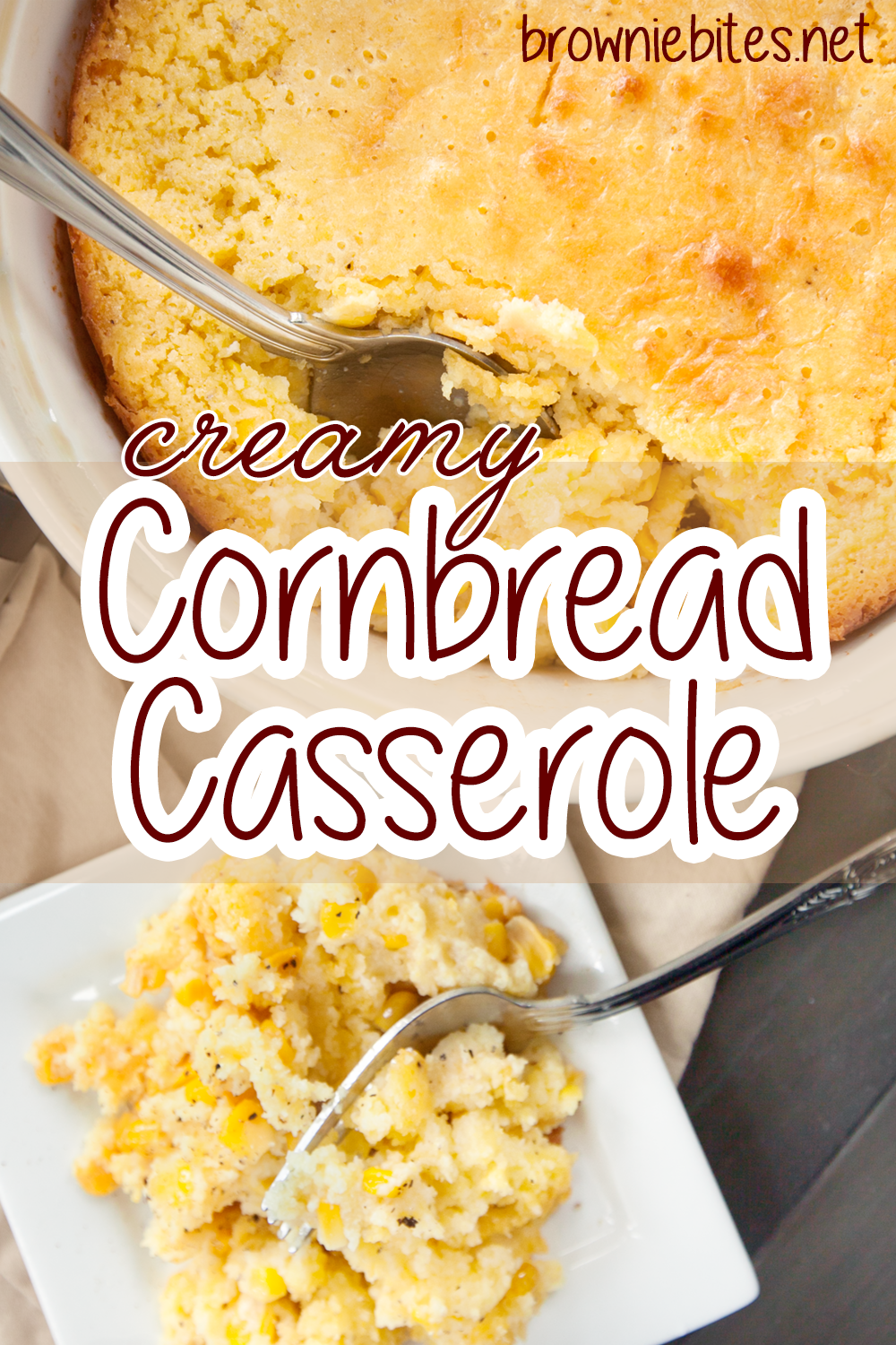 An overhead view of cornbread casserole with text showing the title of the recipe, for Pinterest