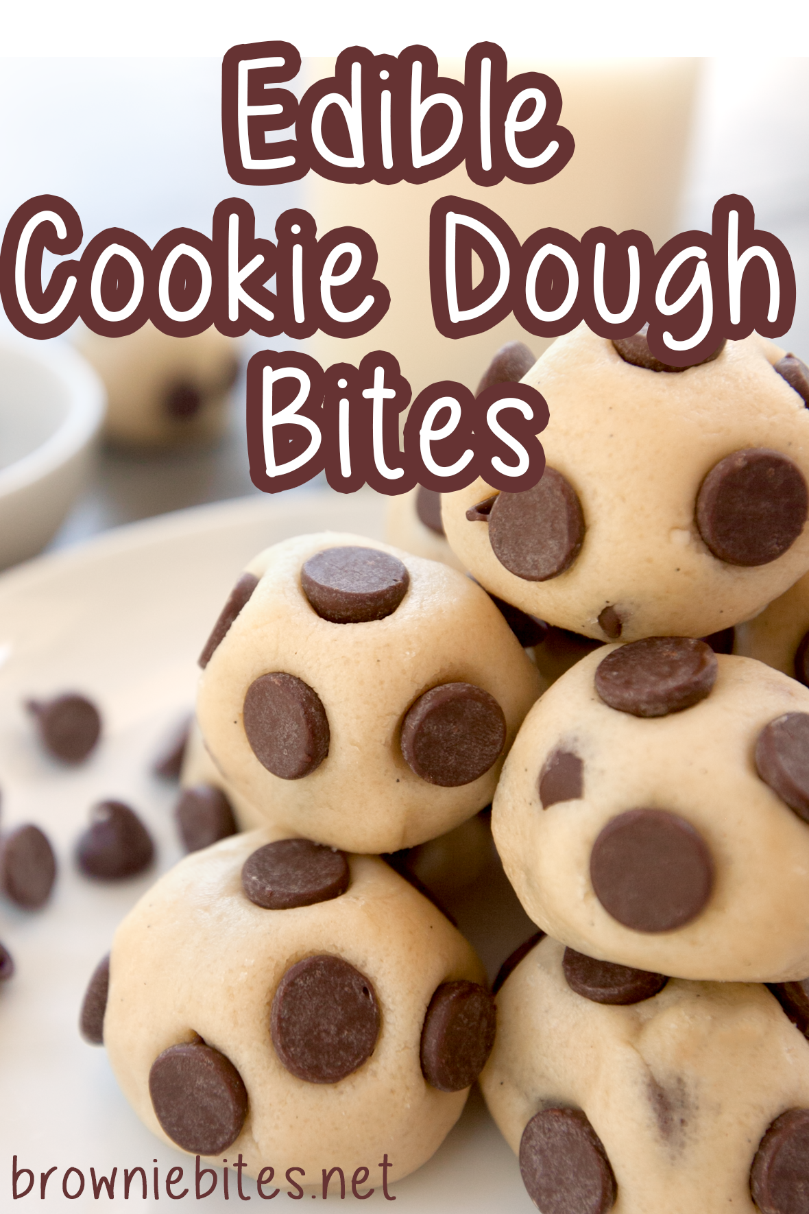 A close up of cookie dough bites with title text for Pinterest