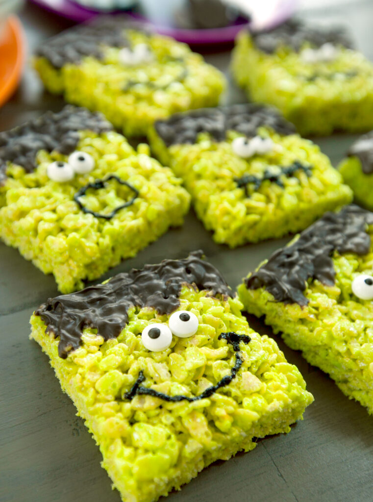 close up of a smiling Frankenstein rice krispies treat