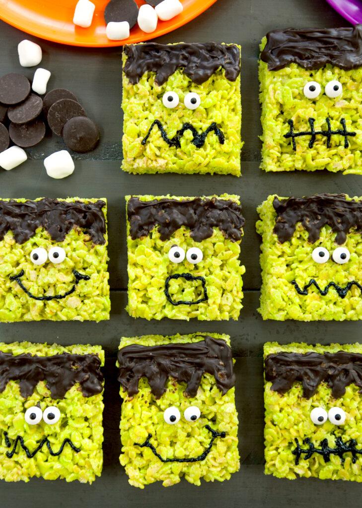 overhead view of rows of Frankenstein Rice Krispies treats