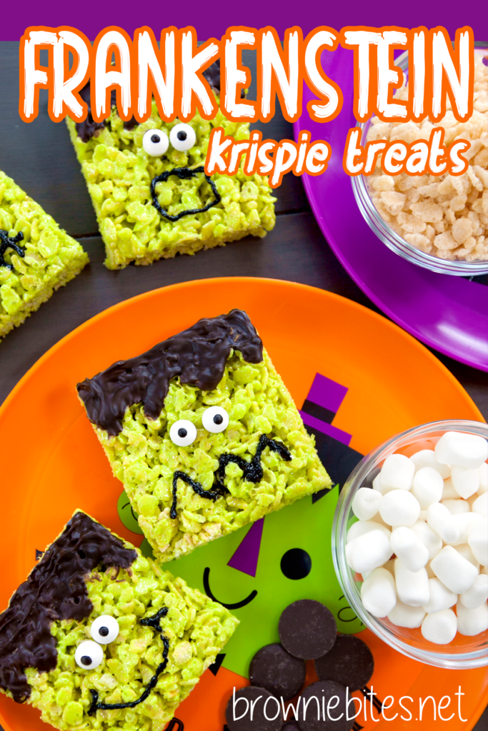 Frankenstein rice krispies treats with text for pinning to Pinterest