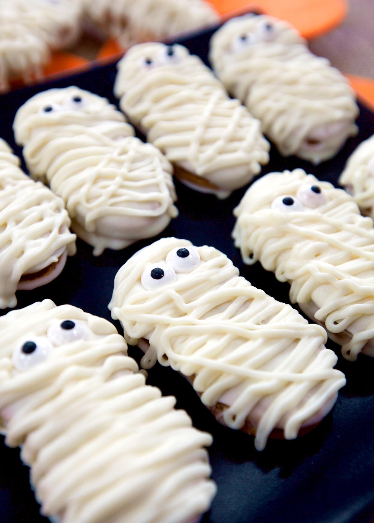 a close up of Nutter Butter mummy cookies