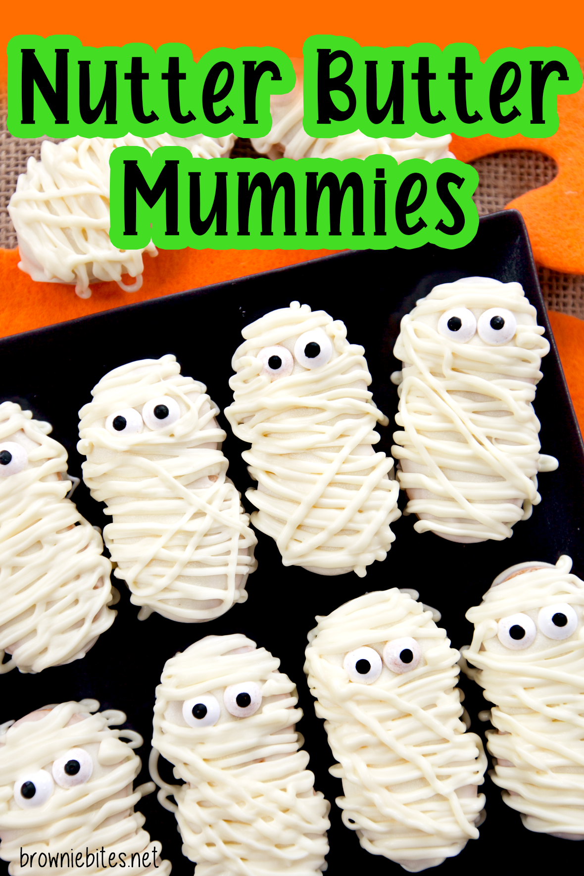 An image of cute Nutter Butter mummies with text for Pinterest