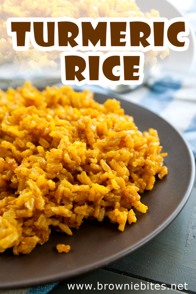 a close up view of a plate of turmeric rice with text for pinterest