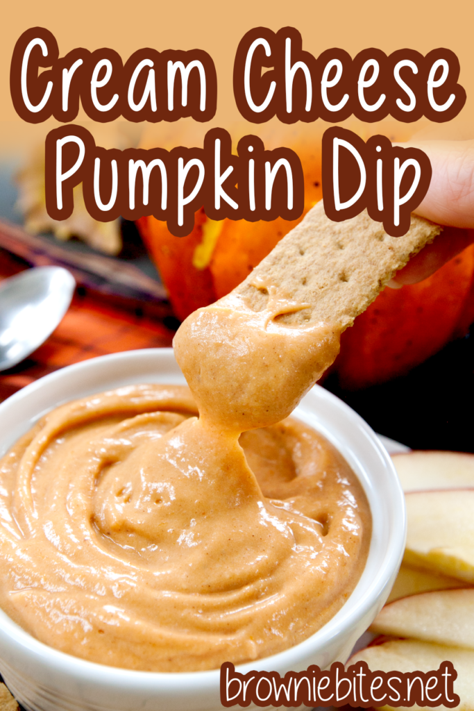 Graham cracker being dipped into cream cheese pumpkin dip, with text for Pinterest