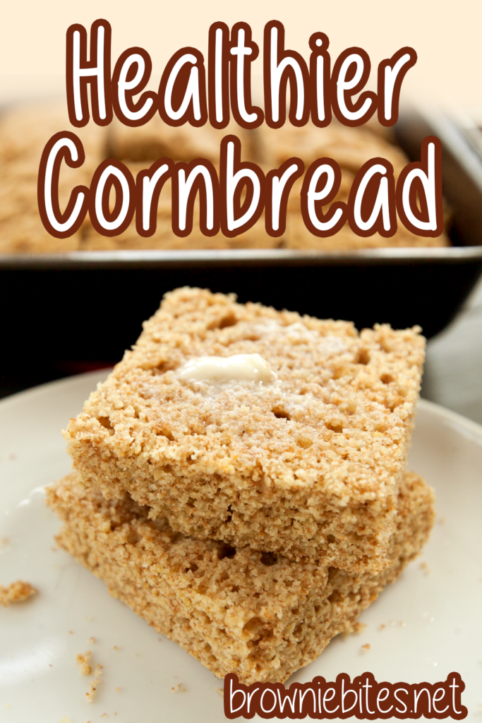 Two slices of healthy whole wheat cornmeal with text for Pinterest