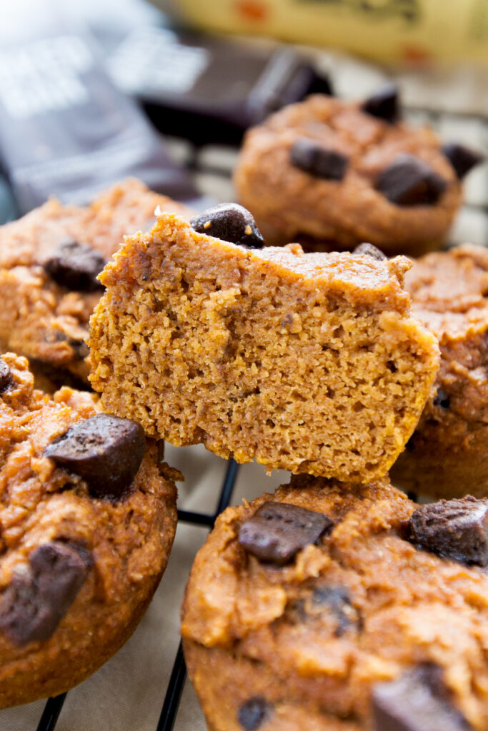 The tender inside crumb of a pumpkin protein muffin with dark chocolate protein bar pieces
