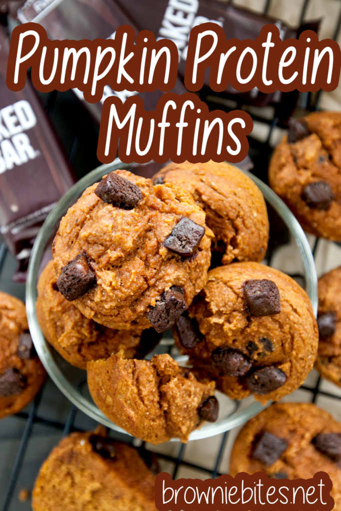 An overhead view of pumpkin protein muffins with text for using with Pinterest.